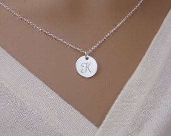 Silver initial necklace - Disc necklace - Personalized sterling silver jewelry - Personalized Bridesmaid gift necklace - Mom necklace
