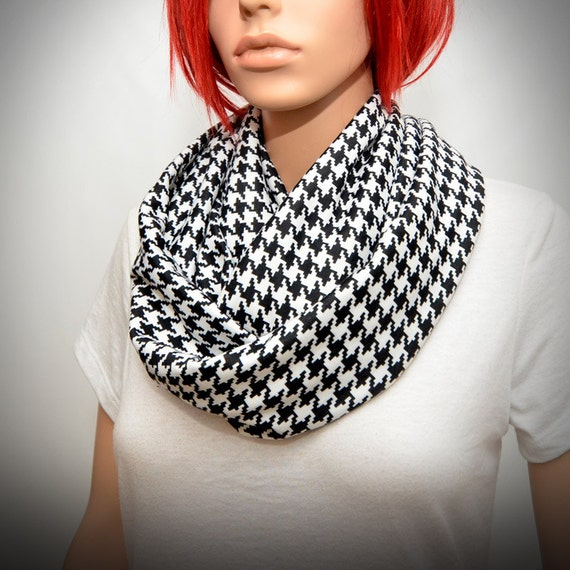 houndstooth scarf black white infinity scarf houndstooth