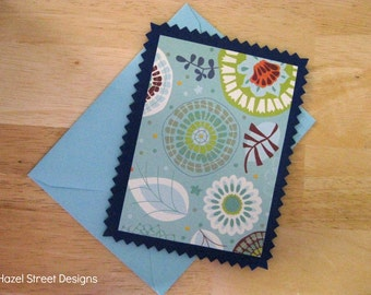 Navy and Green Flower Flat Cards - Set of 6