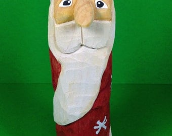 Hand Carved Red Wrap Around Beard Santa Wood Carving