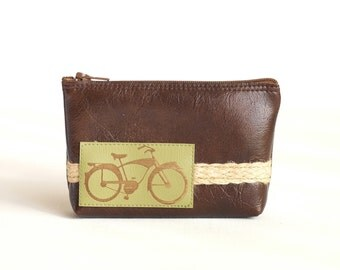 Vegan Bike Zipper Wallet Pouch - Green Bicycle & Jute Braid on Espresso Faux Leather