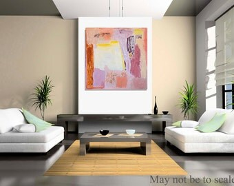 Large canvas abstract Art. Original Painting, pink, orange, yellow, textures modern wall art, Spanish Art