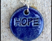 Royal Blue Stoneware HOPE Pendant on Sterling Silver Chain