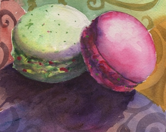 "French Macaroons, 6""x6"" Watercolor"