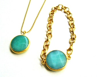 22K gold plated chain bracelet with blue/green Jade stone in gold plated frame, bridesmaid, graduation, birthday, mother's day