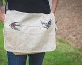 Messenger Bag - Heartstrings Screen Printed and Embroidered