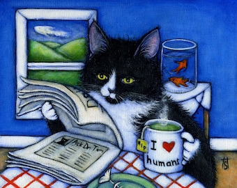 Tuxedo Cat cards. Breakfast with Charlie. Set of 5