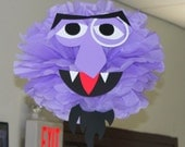 "Purple Monster tissue paper pompom kit, inspired by ""The Count"" from Sesame Street"