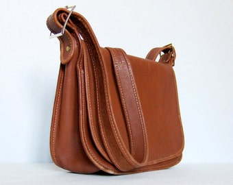 Vintage Leather Bag Tan Brown Shoulder Bag Small Messenger Bag Purse