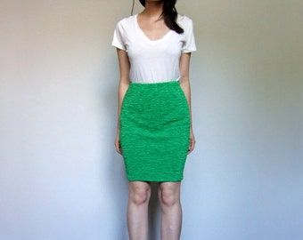 90s Bright Green Skirt Stretchy Fitted Pencil Skirt Ruched Bodycon Simple Skirt - Extra Small XS/ S