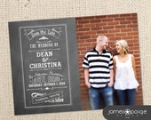 Chalkboard Save the Date With Photo - Digital Design - 4x6 or 5x7