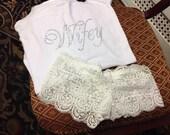 NEW MRS underwear: Lace Boy Short Underwear. Name in Rhinestones Honeymoon/wedding gift. lingerie, just married, bridal shower,bride. Wifey.