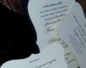 Elegant Black and Ivory Die Cut Invitation 5x7, vintage, baroque wedding invitation