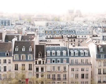 Paris Architecture Photography -  Paris Rooftops, Cream and Grey, Neutral French Home Decor, Large Wall Art