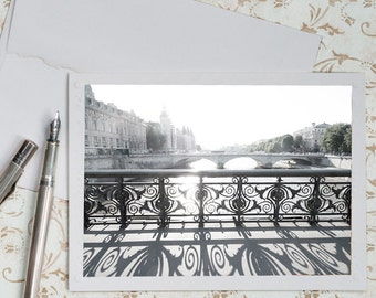 Paris Photo Notecard - Bridge over the Seine, Black and White Stationery, Blank Notecard