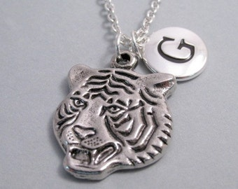 Tiger Face Charm Necklace, Antique Silver Plated Charm, Tiger Keychain, Personalized, Monogram Charm