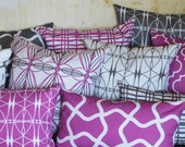 High End Organic Designer Pillows in Orchid, Grey and White