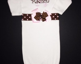 Pink and Brown Lots of Bows Embroidered Personalized  Layette Gown Take me Home DESIGN YOUR OWN
