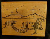 Just Reduced! Southwestern Christmas Eve - WM Rubber Stamp - Collage - Christmas Cards - Scrapbooks - Sunday School - FREE Shipping