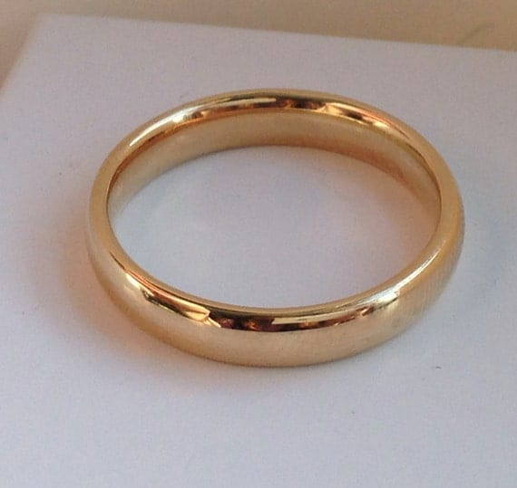 Groom's Traditional 14k Gold Wedding Band, Handmade in Maine