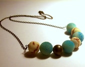 Soft Whisper - Vintage Sugar Bead and Limestone Bead Necklace in Antique Brass