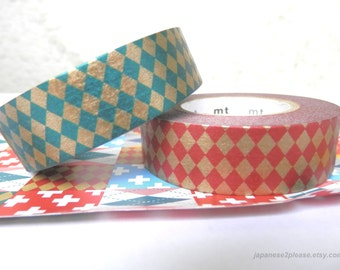 Christmas Red Washi and Green Washi Masking Tape Set - 15mm x15m ( MT Deco Red/ Gold and Green/ Gold Diamonds 2 roll set)