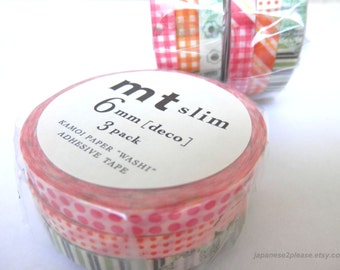 Mt Slim Washi Masking Tape Deco D Set of 3 Rolls 6mm x 10m