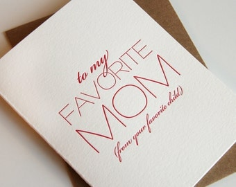 Letterpress Mother's Day card - To My Favorite mom