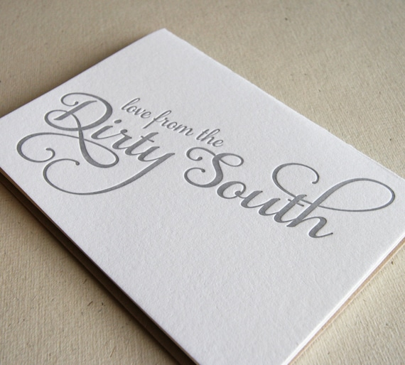 Letterpress greeting card - Regional Love from the Dirty South