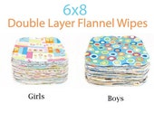 Clearance 6x8 Sweet Bobbins Cloth Wipes Starter Set of 12 wipes -  Double Layer Flannel  - 6x8