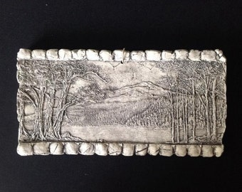 Woods Scene with Brick Border Ceramic Pottery Porcelain Relief Tile