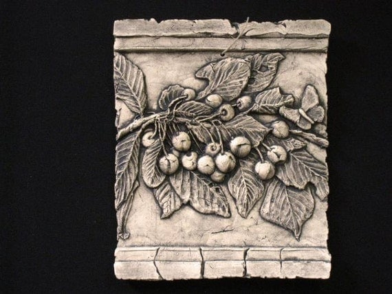 Cherries ceramic pottery fruit relief porcelain tile