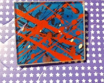 brooch jewelry 80s pin boho bohemian dazzle punk signed artwork art square pegs new wave