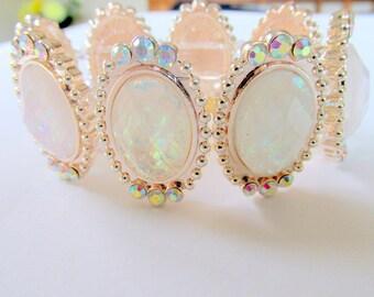 Opal like bangle bracelet cuff bracelet pink tint with sparkly rhinestones stretch bracelet