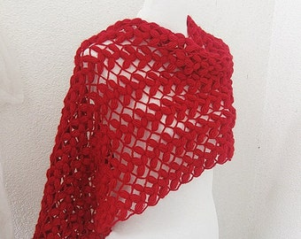 Crochet Shawl, Red, Wine, Cardinal, Crimson, Lava, Elegantly, Carmen,  Rectiangle Shawl, Feminine and Romantic