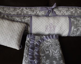 Baby girl bedding Crib set Lavendar and GRay damask DEPOSIT Down payment only