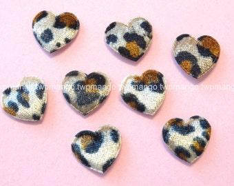 30 Padded Leopard Velvet Heart Appliques EA252