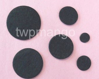100 Felt Circle Dots Appliques...Double Sized...Black...35mm...EA272-6