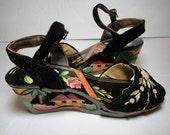 1940s Velvet Strap Carved Wooden Figural Wedge Shoes Philippines
