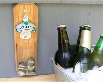 Irish Cap Catcher Bottle Opener - Clear Pouch - Magnetic or Wall-Mount
