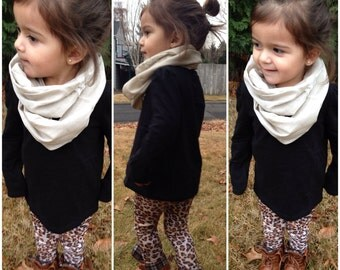 Toddler Infinity Scarf-Linen Lace Block in Cream or Camel