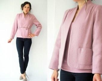 Vintage 80's Mauve Wool Blazer Jacket / Wool Boyfriend Blazer / S - M