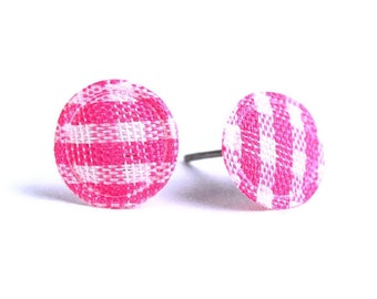 Pink plaid round dot fabric applique hypoallergenic stud earrings (345) - Flat rate shipping