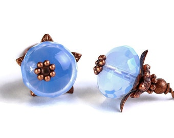 Sky blue crystal glass oval antique copper leverback earrings Ready to ship (387) - Flat rate shipping