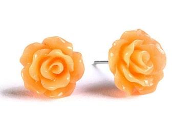 Petite orange rose rosebud hypoallergenic stud earrings (739) - Flat rate shipping