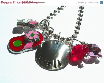 Hand Stamped FLOWERS and FLIP FLOPS  Personalized Charm Necklace for Children