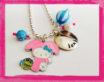 Personalized Easter Necklace  -  Hand Stamped PINK BUNNY RABBIT Charm Necklace for Children -  #ea104