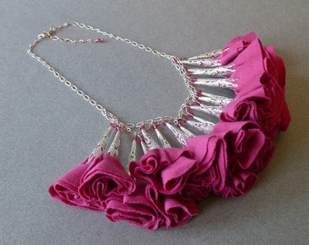 Bright Pink and Silver Fabric Rosette Statement Necklace