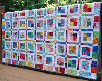 Bright Colorful Twin or Large Throw, Patchwork Design Quilt, Modern Geometric