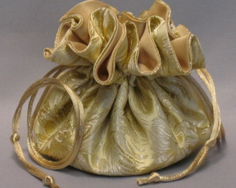 Gold Floral Satin Brocade Jewelry Tote--- Drawstring Organizer Travel Pouch--Medium Size